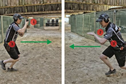 Dynamic handgun shooting and IPSC shooting techniques: the change of position