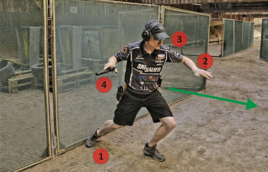 Shooter during the position change in dynamic handgun shooting.