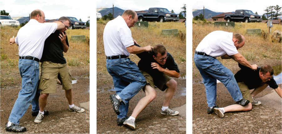 Elbow strike and knee push for self-defense, image sequence.