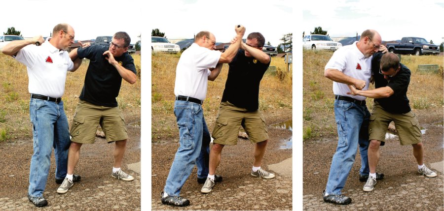 Trying to hit the face of an aggressor, for self-defense.