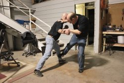 Self-defense demonstration: hard kick against the shin