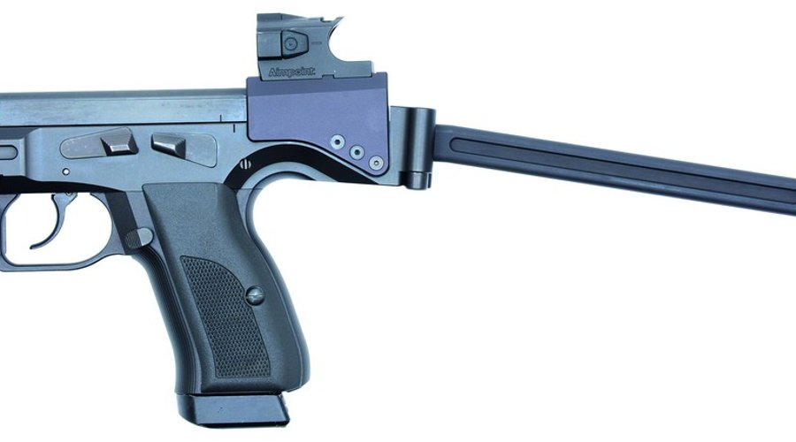 "B&T ""USW"" pistol-carbine with shoulder stock unfolded"