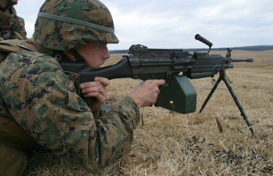 Soldier shooting with the 5.56x45mm M249 Squad Automatic Weapon (SAW)