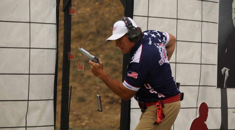 American shooter in Classic Division at the IPSC Handgun World Shoot 2017 in France.