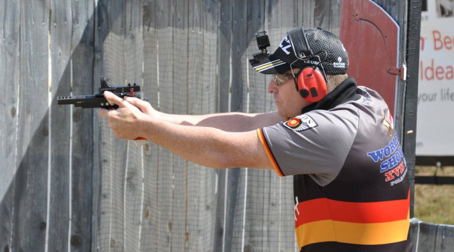 German shooter Nils Nothnagel at the IPSC Wolrd Shoot 2017.