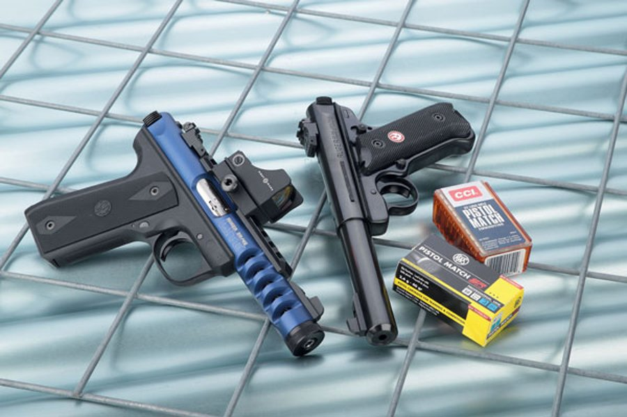 Ruger Mark III Target and Ruger 22/45 Lite Blue in .22 l.r. for IPSC shooting with small-caliber pistols