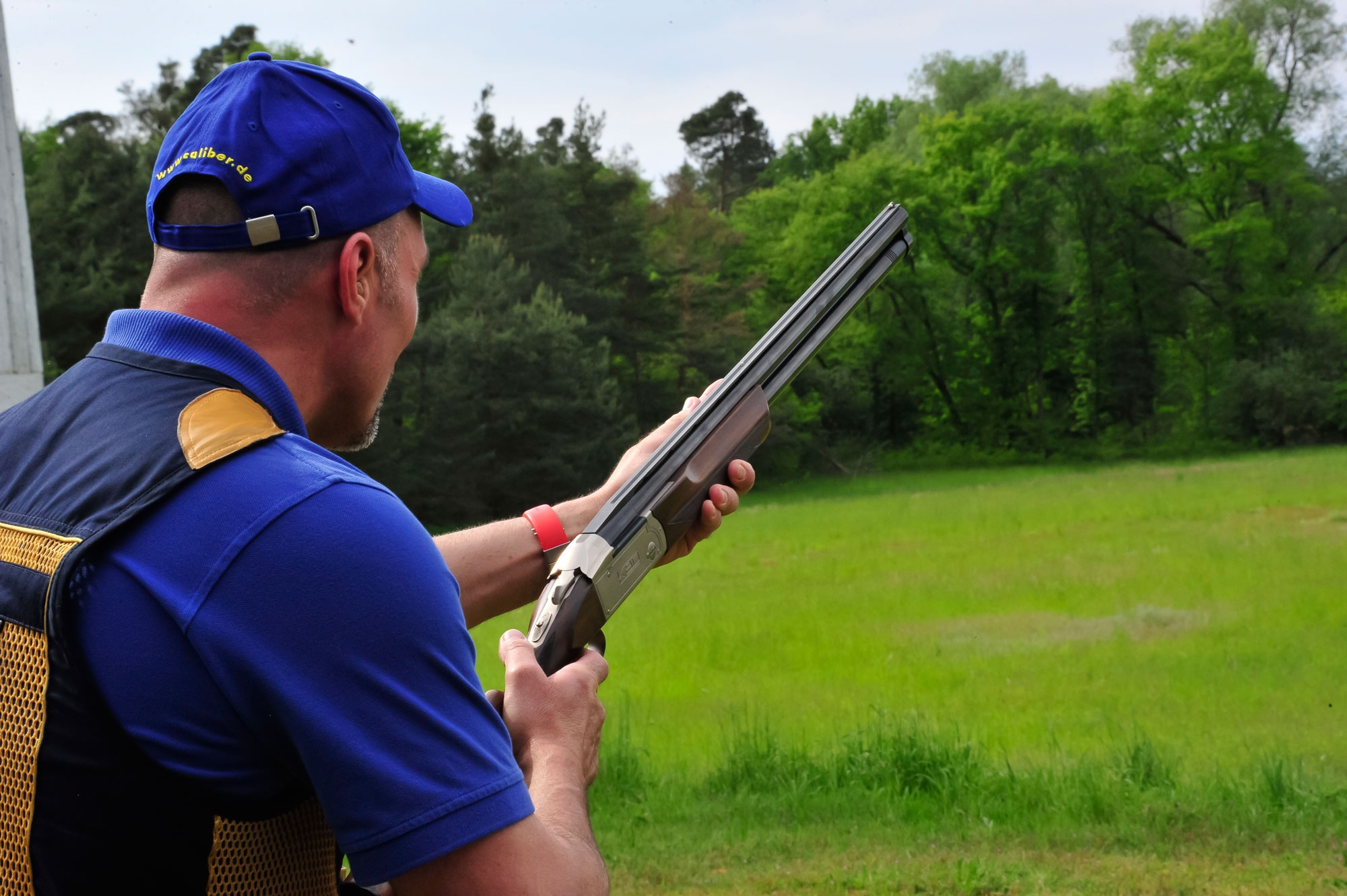 Clay pigeon shooting down at the range with the Krieghoff K-80 over and under.