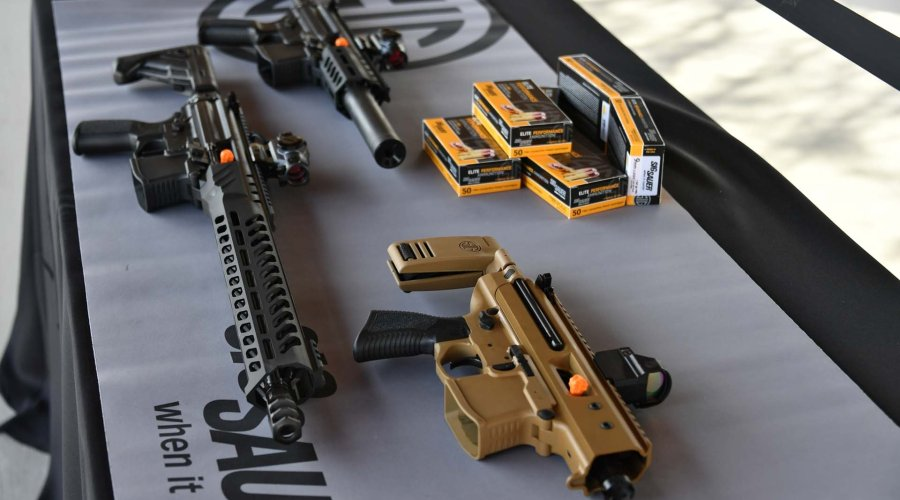 Some of the guns on display at the SIG Sauer Premier Media Day 2019