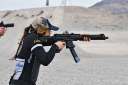 Lena Miculek during the NRA Steel Speed Shooting record attempt at the SIG Sauer Premier Media Day 2019