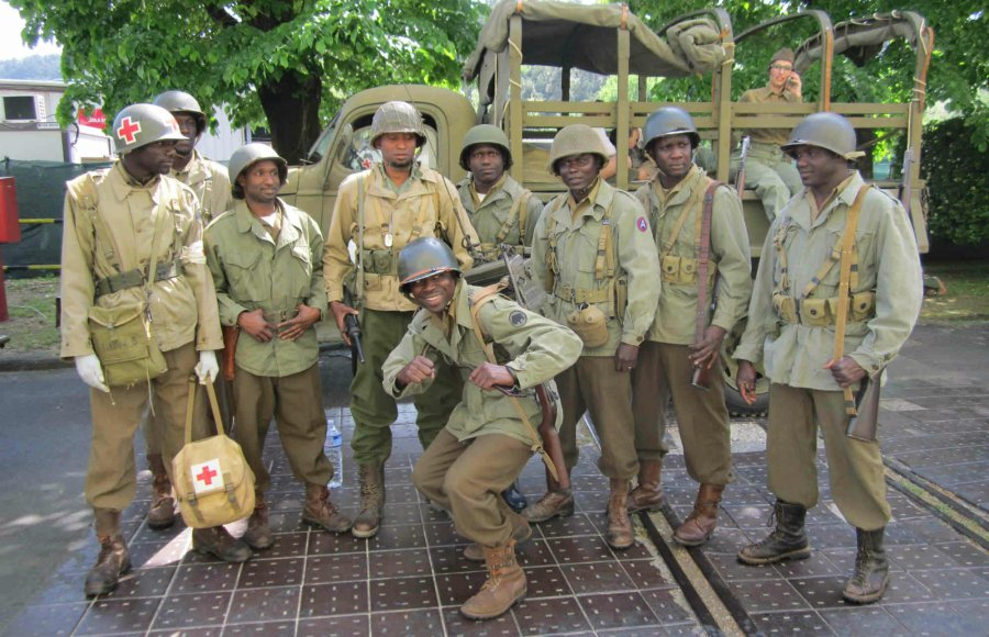 Guys reenact the 92th Infantry Division