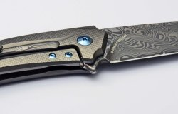 A detail of the Damascus steel blade version