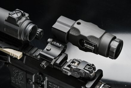The red dot reflex sight from above