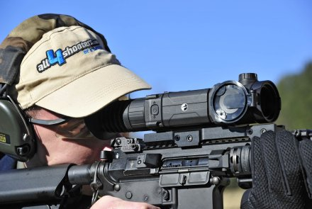 Pulsar Trail XP riflescope mounted on a rifle