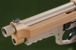 The front sight of the Beretta M9A3 pistol