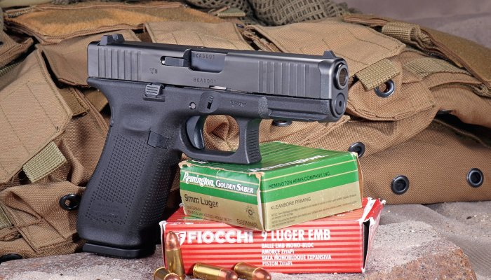 glock: GLOCK 45 in 9 mm Luger, test-firing the crossover pistol between GLOCK 17 and GLOCK 19