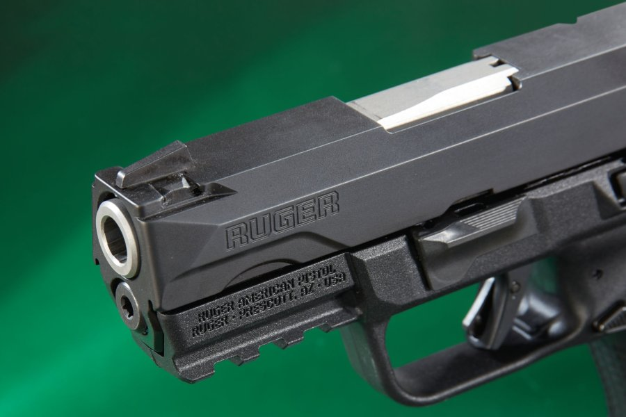 The front sight of the the Ruger American Pistol Compact in 9mm