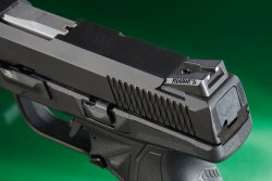 The drift adjustable rear sight of the Ruger American Pistol Compact in 9mm