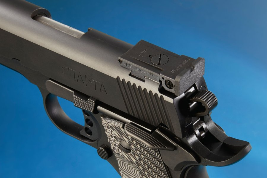 The BoMar-style rear sight of the STP Sparta 6.0 pistol