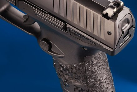 The rear sight of the Walther PPQ (SC) subcompact 9mm pistol