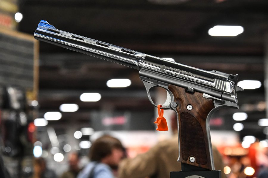 "The ""new"" Auto Mag pistol showcased at SHOT Show 2018 in Las Vegas"
