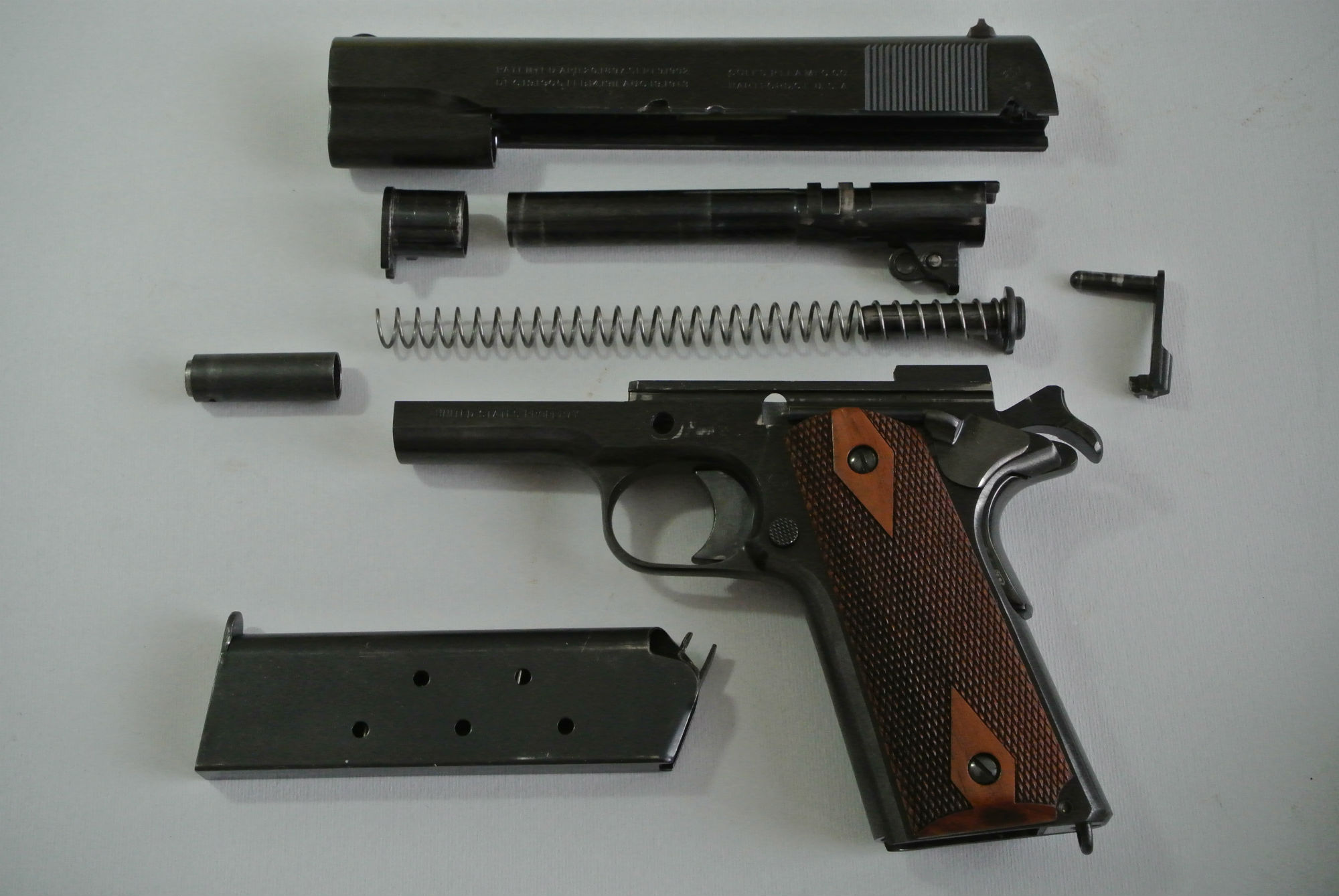 The WW1 Colt 1911 field-stripped