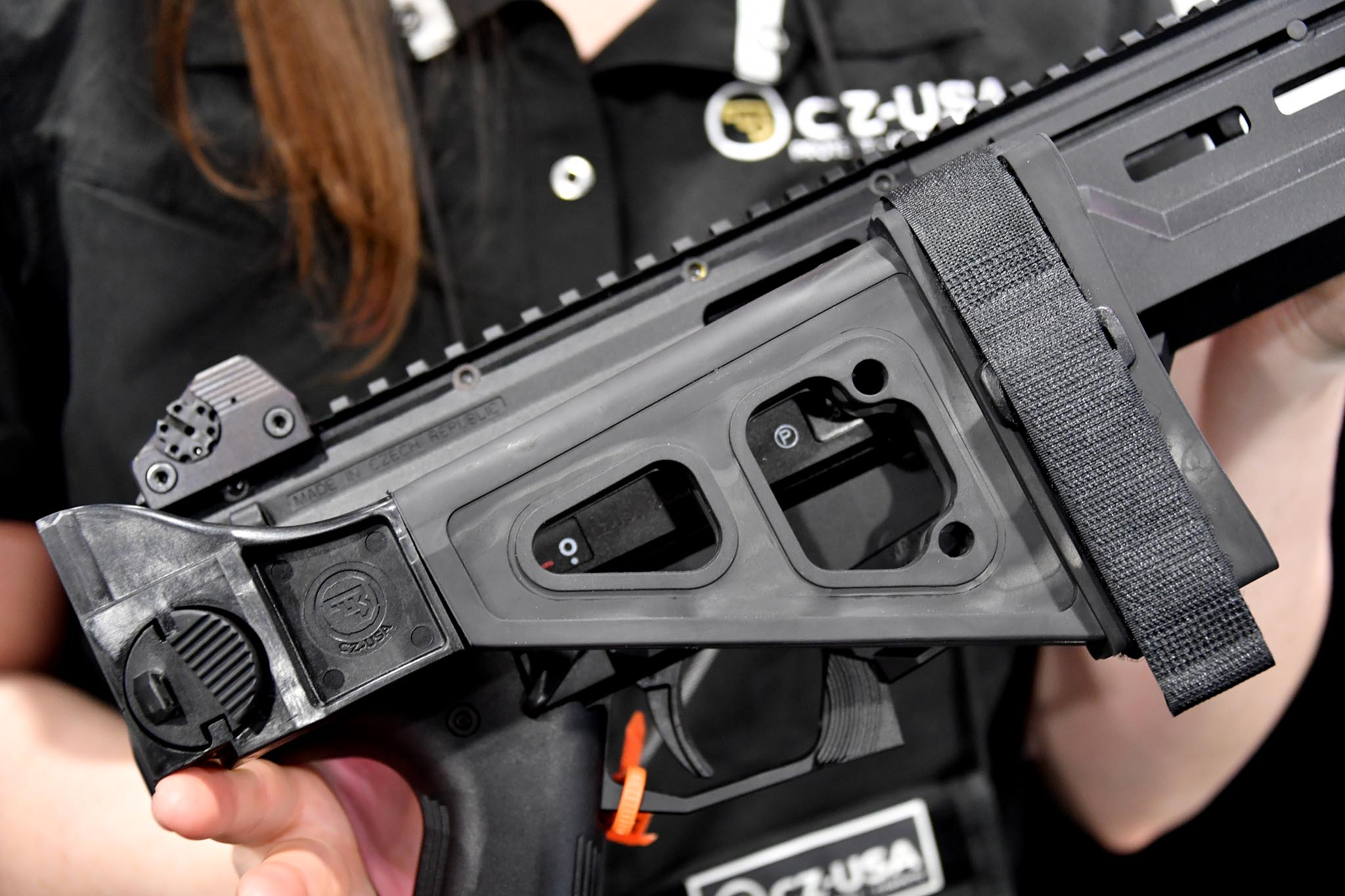 Folding stock of the CZ Scorpion EVO 3 S1 with Flash Can