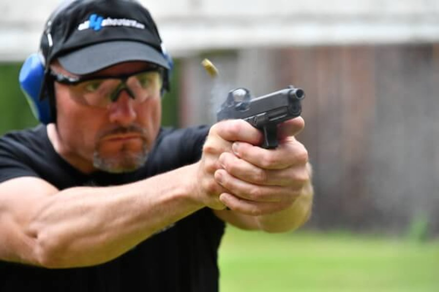 GLOCK pistol in MOS configuration at the range