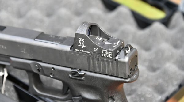 GLOCK pistol in MOS configuration with mounted optical system
