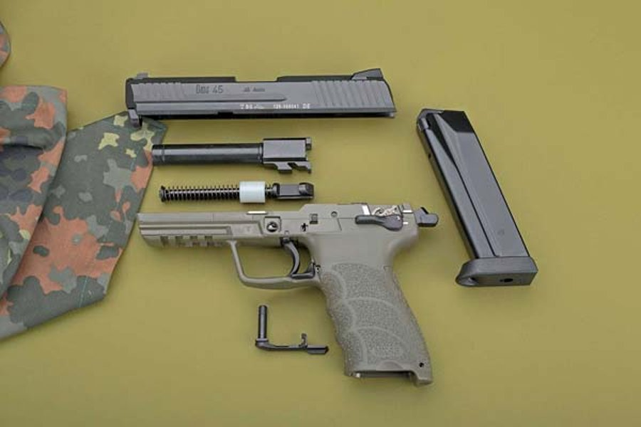 The HK45, stripped to its individual parts