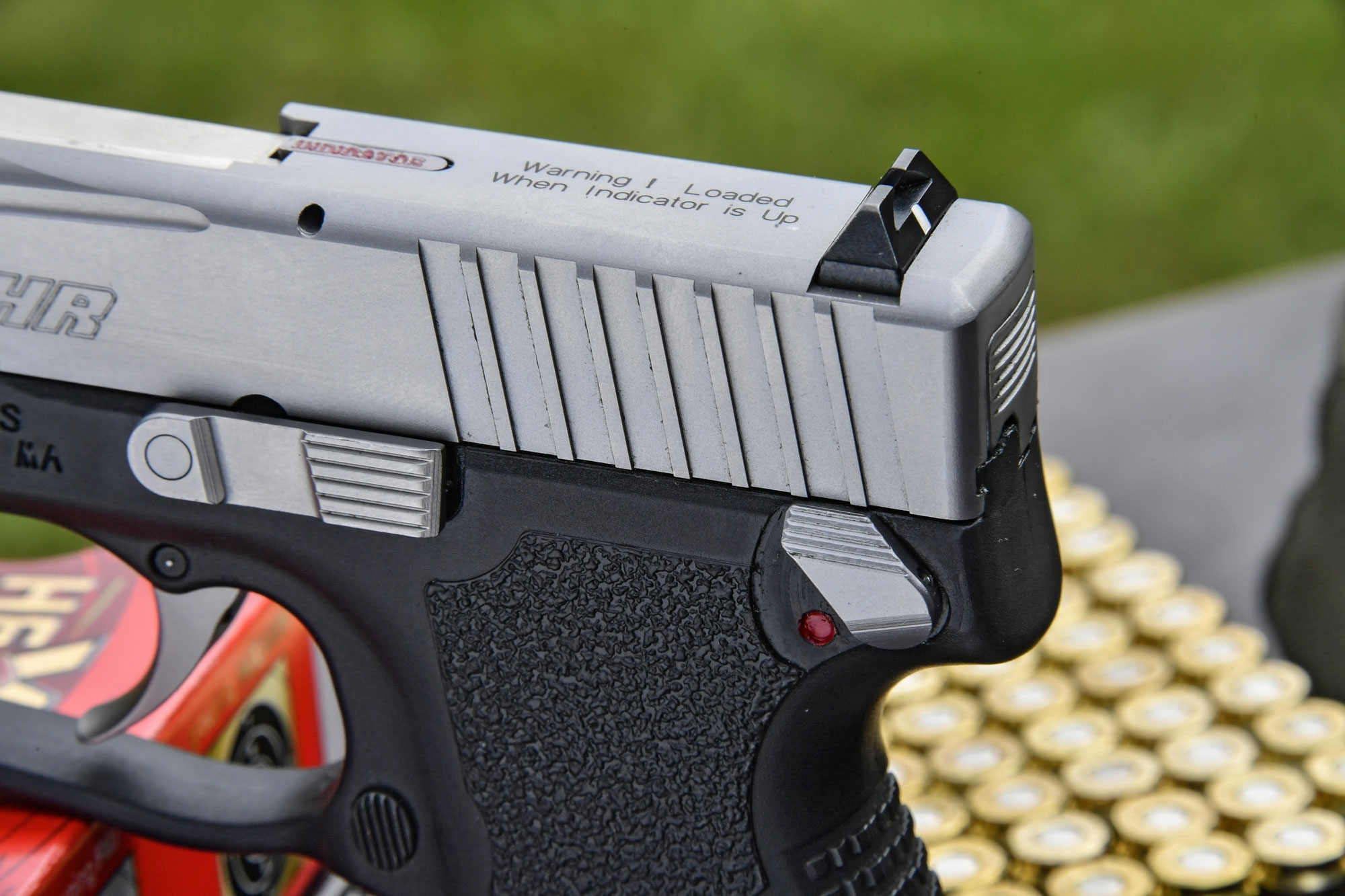 The rear sight of the Kahr Arms P9 Duotone pistol