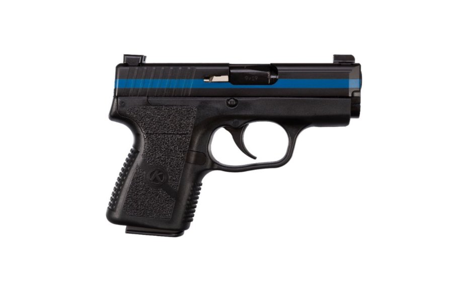 "The Kahr Arms PM9  ""Thin Blue Line"" pistol, right side"