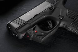 Mossberg MC1sc pistol equipped with Viridian E‐Series Red Laser.