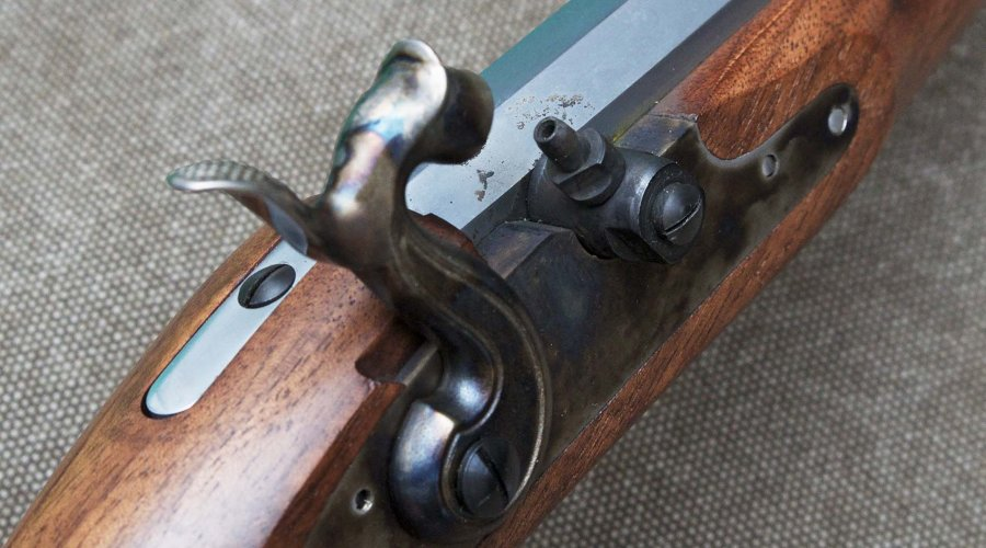 Half-cocked hammer on the Pedersoli Continental Target pistol.