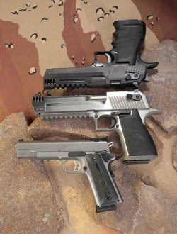 The Ruger SR1911 (bottom) and the two Magnum handguns