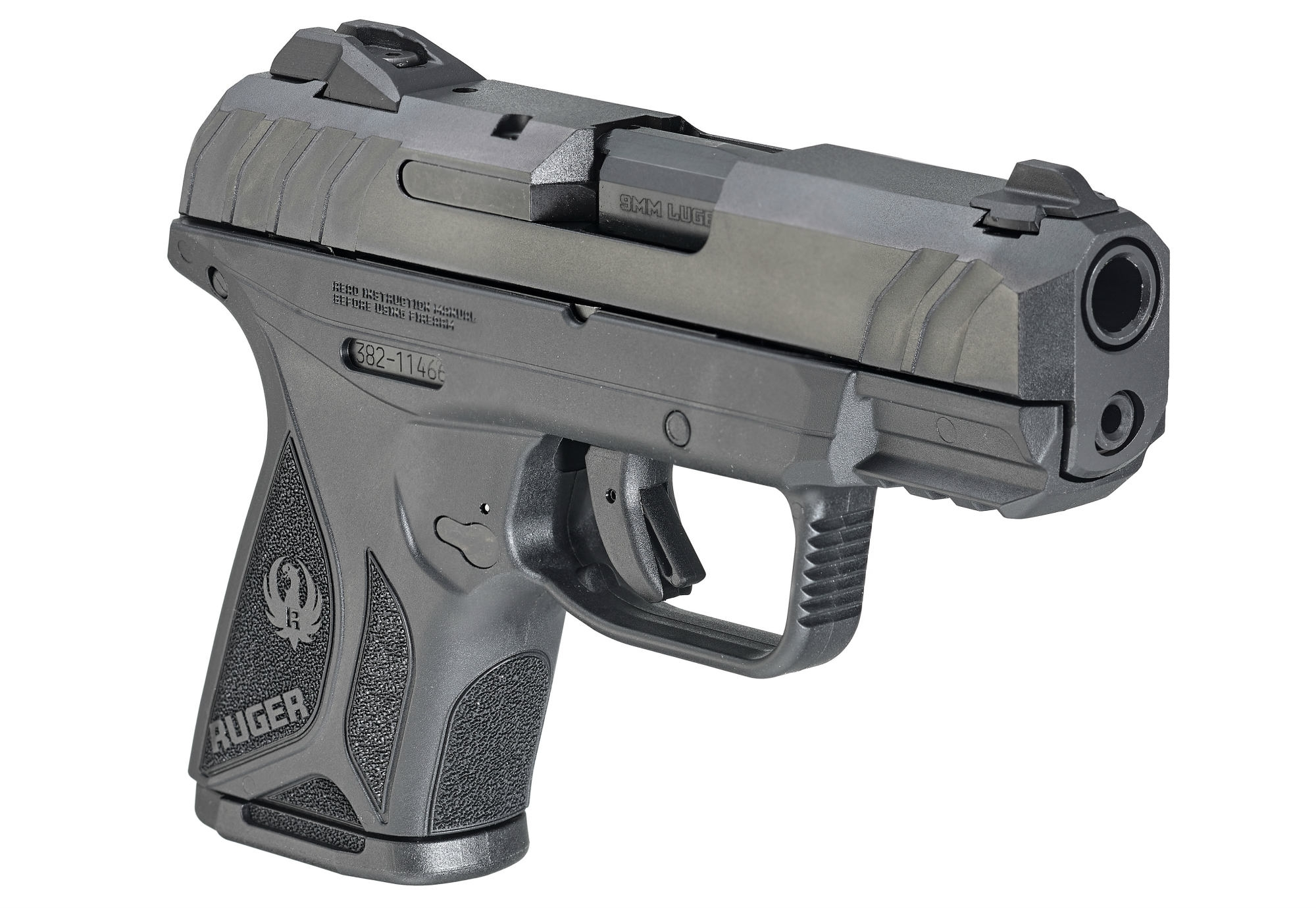 The steel slide of the Ruger Security-9 pistol