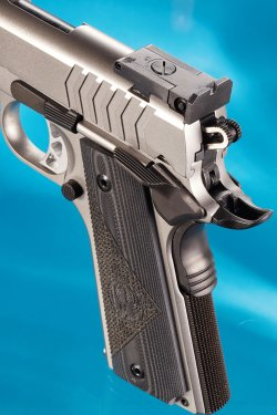 The BoMar-style micrometer rear sight of the  Ruger SR1911 Target in 9mm