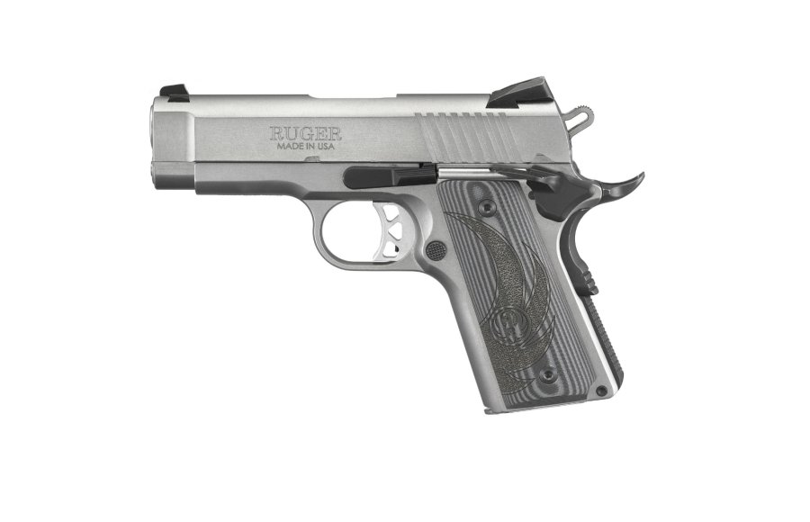 The Ruger SR1911 Officer-Style with stainless steel frame in .45 ACP.