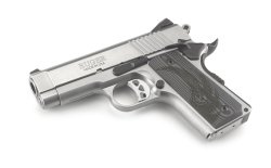 Full view of the Ruger SR1911 Officer-Style with stainless steel frame in .45 ACP.