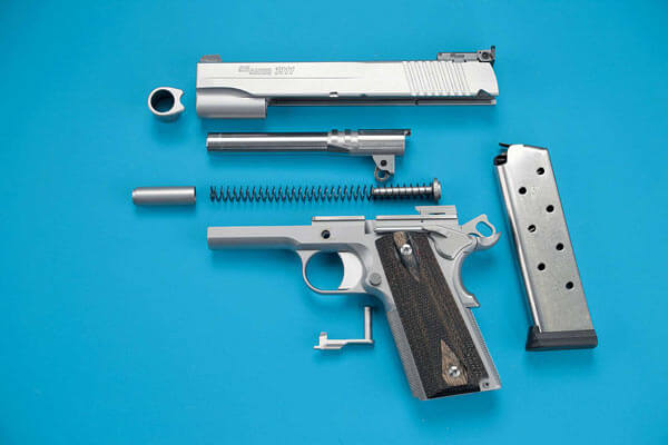Individual components of the SIG Sauer 1911 Stainless Target pistol
