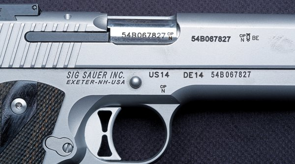 Inscriptions on the right side of SIG Sauer 1911 Traditional Match Elite in 9 mm Luger