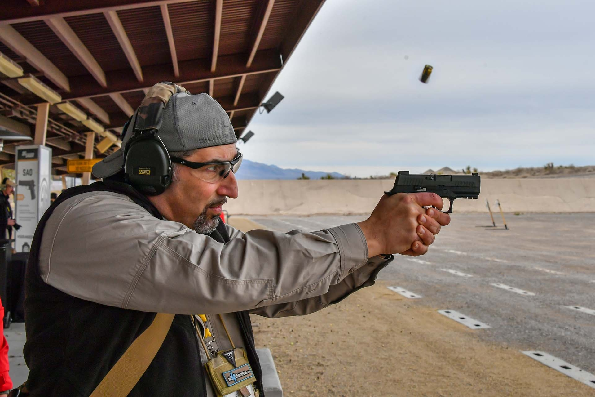 Shooting the SIG Sauer P320 X-compact pistol at the SIG Premier Media Day event