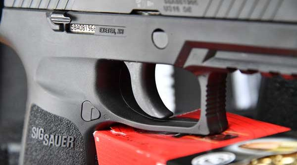 Trigger with the serial number on the P320 pistol by SIG Sauer