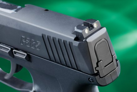 The drift-adjustable rear sight of the  SIG Sauer P365