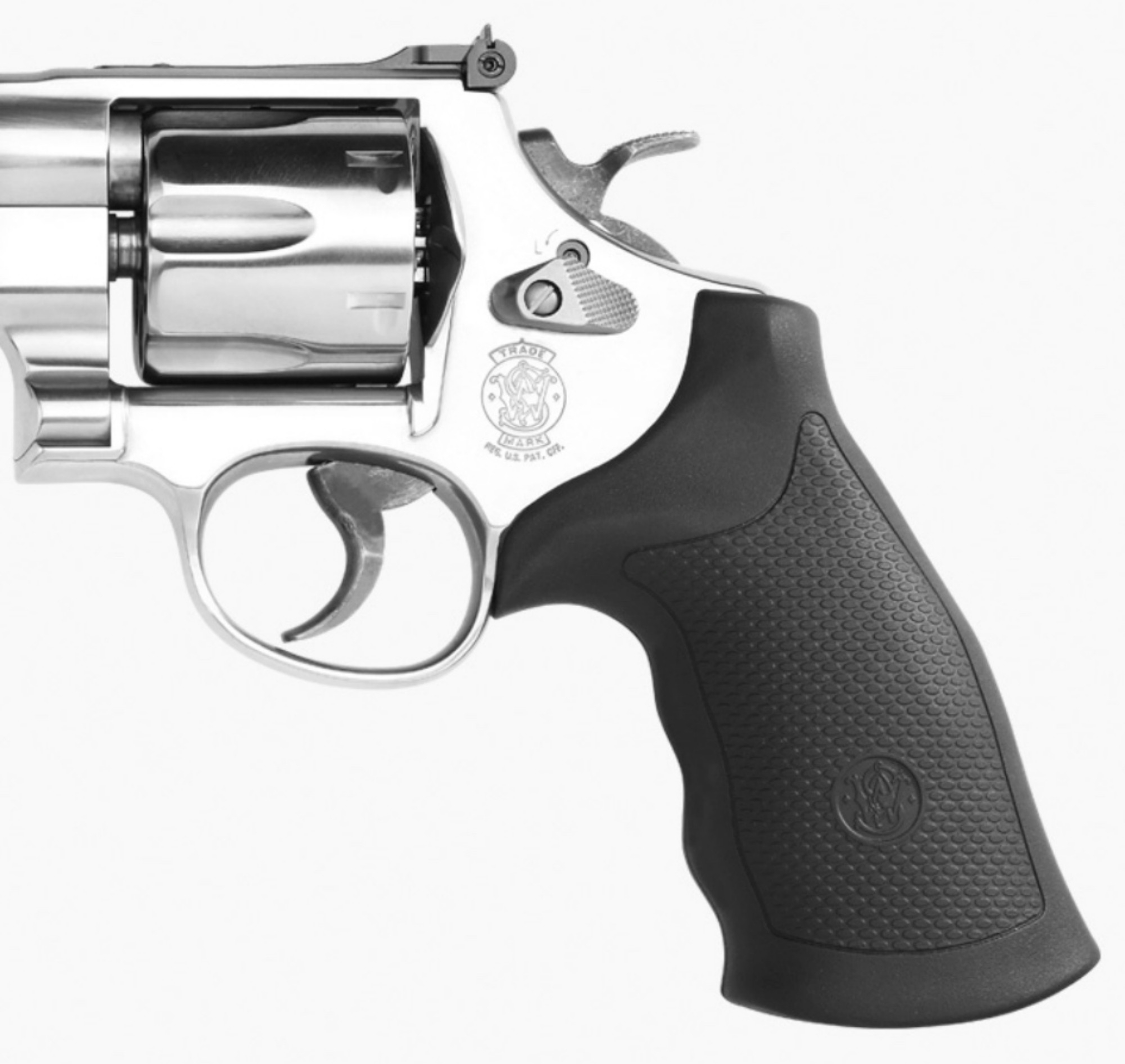 The finger groove grips of the Smith & Wesson Model 610 revolver