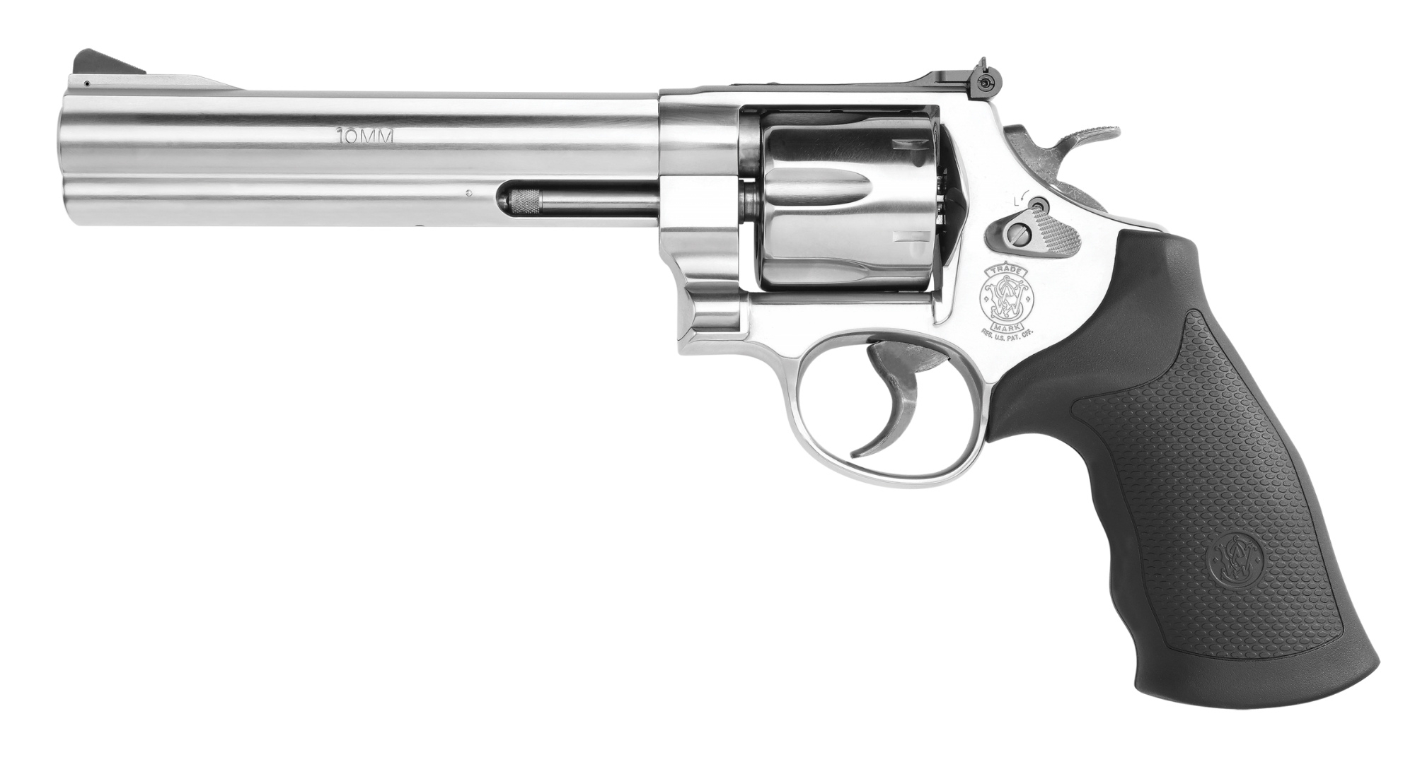 The Smith & Wesson stainless steel Model 610 revolver, left side view