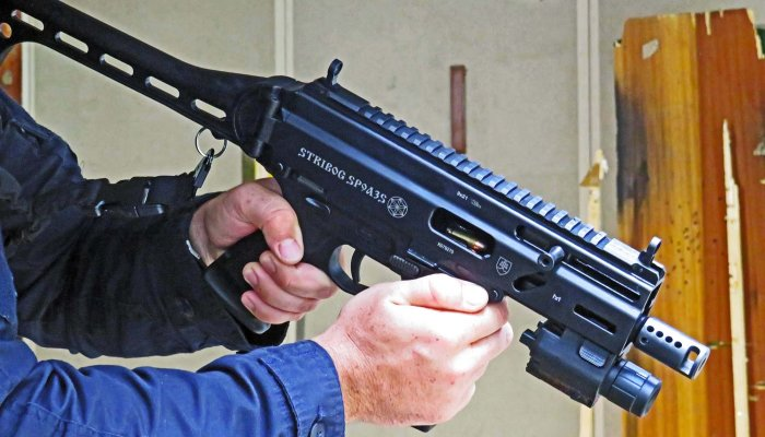 pistols: Stribog SP9 A3S in 9mm, a carbine pistol for personal defense and law enforcement