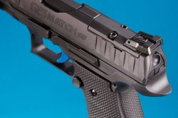 The adjustable rear sight of the Walther Q5 Match SF Champion