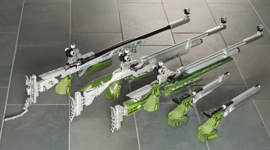 "WALTHER ""Green Pepper"" gun lined up"
