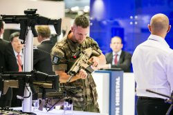 Visitor at the Eurosatory Defence and Security Show