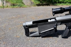 The buttstock of the Barrett M95 bolt-action bullpup rifle